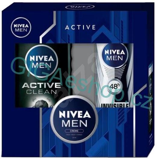 NIVEA MEN kazeta Active Clean & Creme (Dárková sada kosmetická obsahuje: Sprej antiperspirant Black&White Power 150 ml + MEN Sprchový gel Active Clean 250 ml + MEN Krém 30 ml)