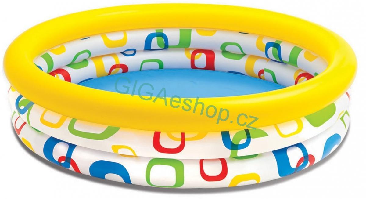 DĚTSKÝ NAFUKOVACÍ BAZEN Intex Wild (Nafukovací tříkomorový bazének Wild Geometry Pool od Intexu je vhodný jako brouzdaliště pro děti od dvou let. Bazén skvěle poslouží při letních dnech na vaši zahradě.)