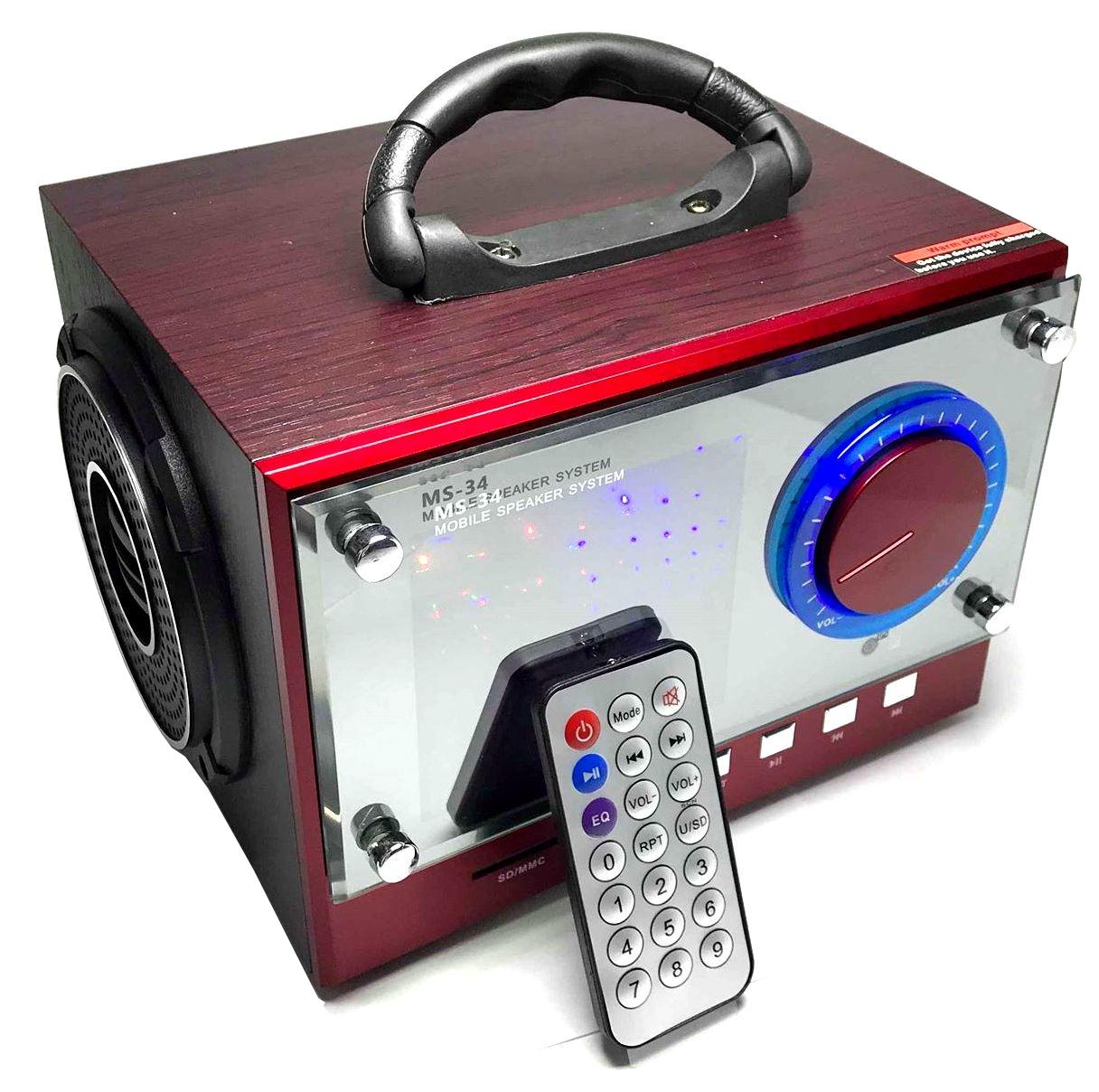 BEZDRÁTOVÝ BLUETOOTH REPRODUKTOR, FM RÁDIO (Nabíjecí, přenosný, bluetooth reproduktor s ovladačem a
